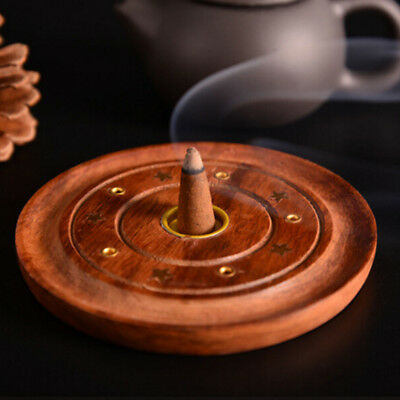 3Pcs Round Wood 90mm Carved Ash Catcher Incense Burners Stick Cone Holder New