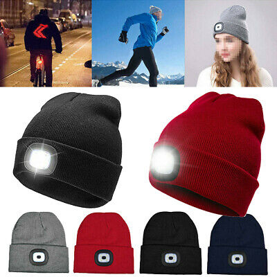 Unisex LED Beanie Hat Winter Knitted Warm Ski Cap With USB Rechargeable Battery