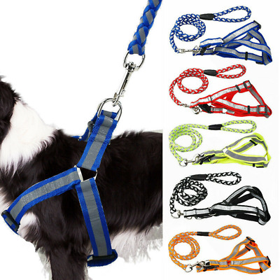 Nylon Reflective Dog Lead Step-in Adjustable Dog Harness Collar Safety Leads UK
