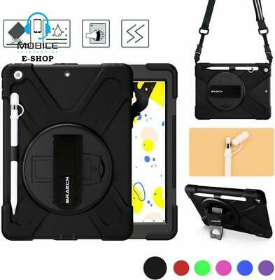 iPad 10.2 7th Gen Case Rugged Protective Cover With Pencil Holder And Hand Strap