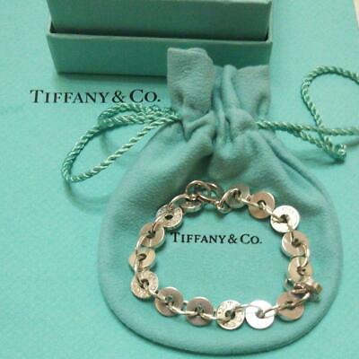 Tiffany & Co. Authentic 1837 Sterling Silver 925 Circle Disc Link Bracelet W/Box