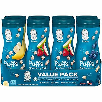 Gerber Graduates Puffs Cereal Snack, Variety Pack (1.48 Ounce, 8 Count)