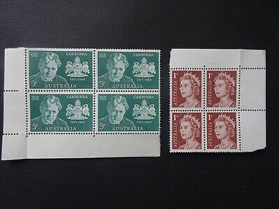 Two Marginal blocks of four early stamps from Australia UMM