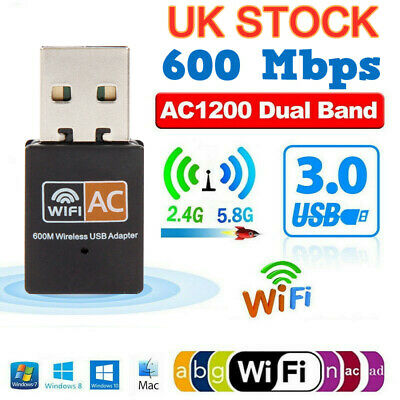 600Mbps Wireless USB Ethernet PC WiFi AC Adapter Lan 802.11 Dual Band 2.4G / 5G