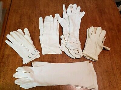 Vintage Evening Gloves Ladies Lot 5 Pair White Dress Opera  Wedding Lee Begman
