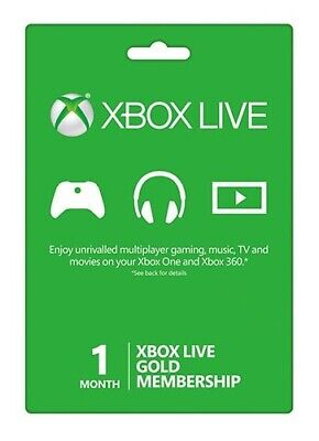 Xbox Live 1 Month Gold Membership (1 code x30 days)