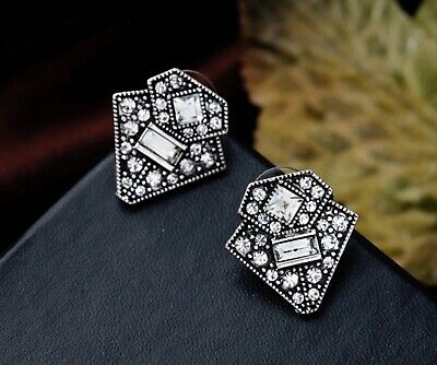 Art Deco Style Drop Stud Antique Silver Crystal Flapper Geometric Earrings