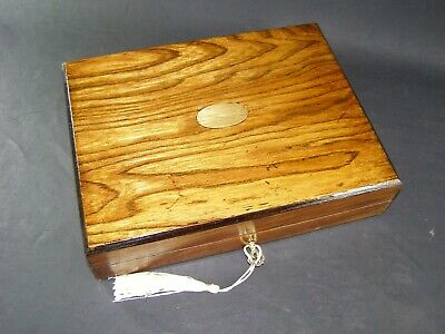 Antique Oak Box Will Hold A Kindle Working Lock & Key c1890 With Kindle Holder