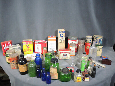 Large Lot 30+ Vintage Advertising Medical & Tobacco Related Tins & Glass Bottles