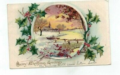 Antique 1906 embossed Tuck Christmas Post Card Church Sunset River Holly Ivy