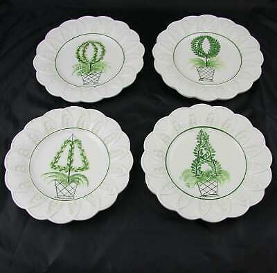 "4 San Marco Nove Topiary Botanical Leaf & Scalloped Edge Plates 8.75"" Italy"