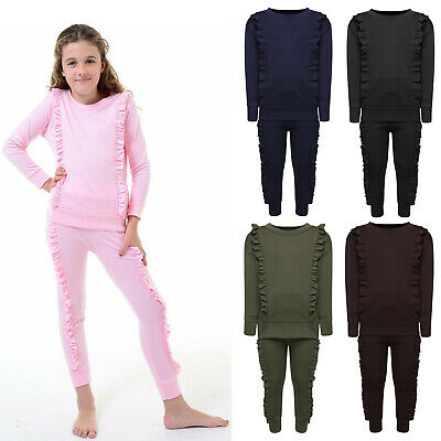Children Girls Tracksuit Duel Frill Loungewear Pullover Top Bottom Jogging Suit