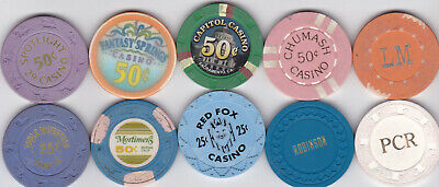 10 Diff. Fractional California Casino Chips-Various Locations And Denominations