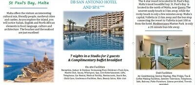 HOLIDAY in Malta.7 nights in a studio for 2 people in a 4* excellent rated hotel