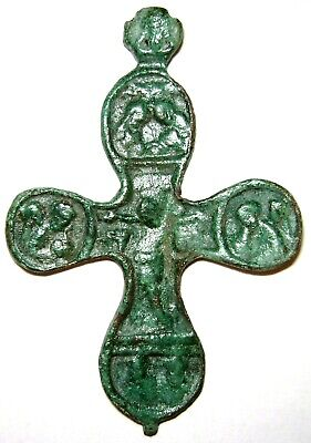 "Ancient Medieval bronze pectoral cross crucifixion ""Jesus Christ and Co"". 3.4"""