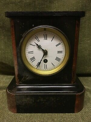 Antique French Marble And Black Slate Mantel Clock For Tlc