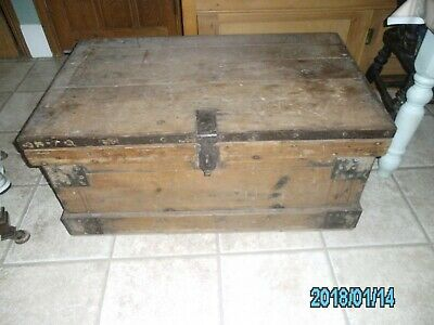 Large Old Pine Travel Trunk