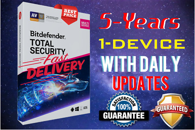 Bitdefender Total Security 2019 / 2020 - 5 Years Activation 1 Device