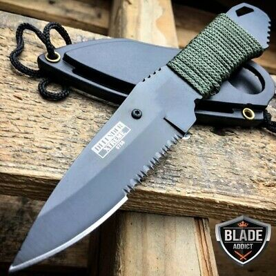 "7"" TACTICAL MILITARY TACITCAL FIXED BLADE NECK KNIFE w/ SHEATH boot camping-Hh"