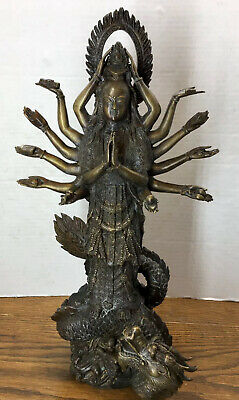 """Old 17"""" Bronze Asian Hindu Deity 14 Arms With Dragon Weight 11 Pounds"""