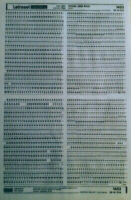 LETRASET Dry Rub On Transfers LETTERS 'FUTURA DEMI BOLD 12pt' 3mm #1453 used