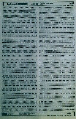 LETRASET Dry Rub On Transfers LETTERS 'FUTURA DEMI BOLD 10pt' 2.8mm #1454 used