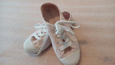 girls sz 13 peachy coloured lace up canvas shoes miss fiori good to go pumps