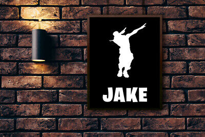 A4 Fortnite Personalised Customised Poster Wall Art Dab Emote Any Name