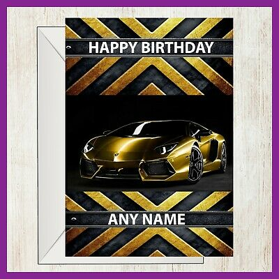 Lamborghini Gold Sports Car Personalised Birthday Card ANY NAME