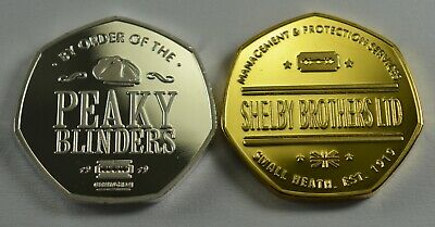 Pair of PEAKY BLINDERS Silver & Gold Commemoratives. Shelby Brothers, Birmingham