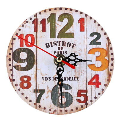 Vintage Wooden Wall Clock Large Shabby Chic Rustic Kitchen Home 2  Antique  *DC