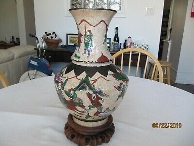 Antique Chinese Battle Scene Crackle Glazed Famille Rose Porcelain Vase