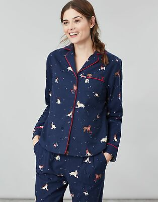 Joules Womens Cait Button Through Long Sleeve Classic PJ Top in XMAS DOGS Size 8