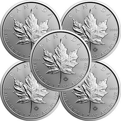 2020 Canada Silver Maple Leaf 1oz BU Coin 5 Piece Lot in Flips