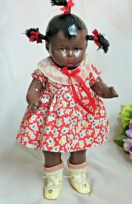"""ANTIQUE vintage EFFANBEE BLACK Americana DOLL Patsy FACE 12"""" composition DRESSED"""