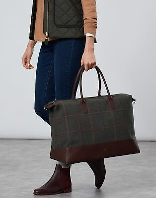 Joules Womens Paddington Tweed Holdall Bag in DARK GREEN GRID TWEED in One Size