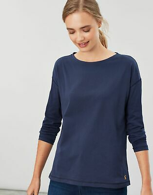 Joules Womens Marina Dropped Shoulder Jersey Top Shirt in FRENCH NAVY Size 18