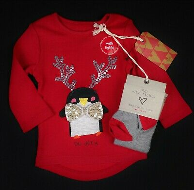 Baby Girls NEXT XMAS Christmas Penguin Tunic Top & Tights Set 3-6 Months BNWT