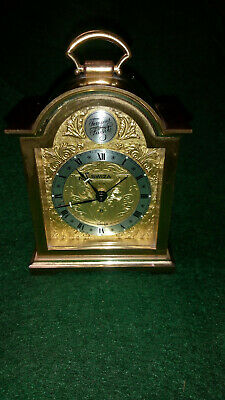 "Vintage Swiza ""Tempus Fugit"" Brass Miniature Carriage Clock With Alarm"