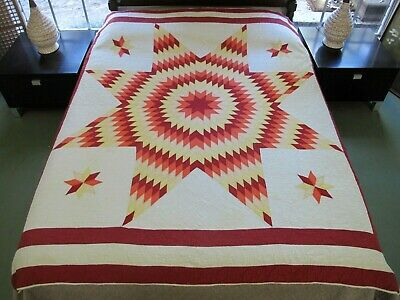 DIRTY Needs Laundering & TLC Vintage Hand Quilted Cotton LONE STAR Quilt; FULL