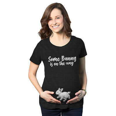 Maternity Some Bunny Is On The Way Pregnancy Tshirt Cute Easter Tee (Heather