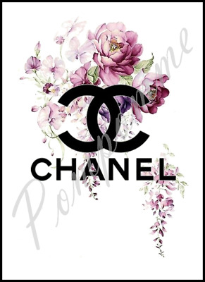 Coco Chanel Logo Floral Fashion Art  Print Picture Poster Home Decor Bedroom  A4