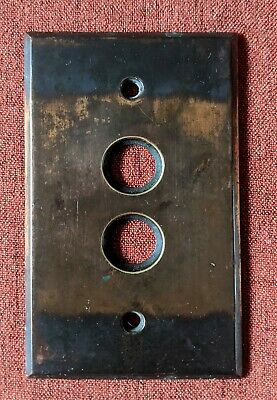 Vintage Brass Push Button Light Switch Plate Cover Japanned Victorian #1