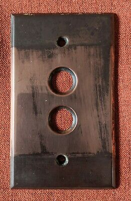 Vintage Brass Push Button Light Switch Plate Cover Japanned Victorian #2