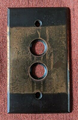 Vintage Brass Push Button Light Switch Plate Cover Japanned Victorian #4