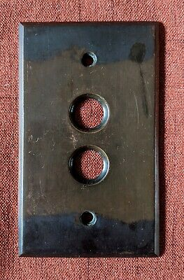 Vintage Brass Push Button Light Switch Plate Cover Japanned Victorian #6