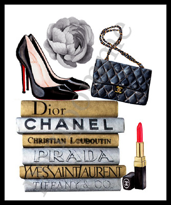 Louboutin Fashion Print Coco Chanel Wall Art Picture Home Decor Bedroom Gift A4