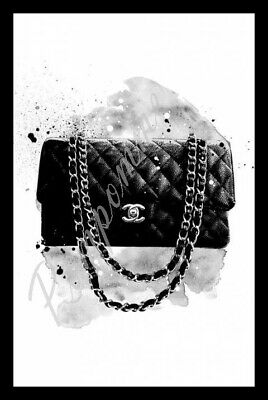 Coco Chanel Print Digital Handbag Wall Art Home Decor Picture Bedroom Gift A4