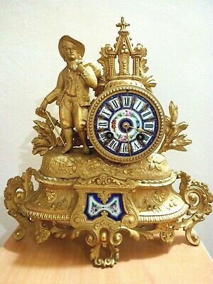 Antique Victorian French Figural Mantel Clock Gilt  Porcelain by PH Mourey