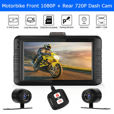 "3"" Waterproof Dual Lens Full HD 1080P+720P Motorcycle Dash Cam DVR + Controller"